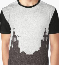 The Liverbuilding at dusk in Black and white Graphic T-Shirt