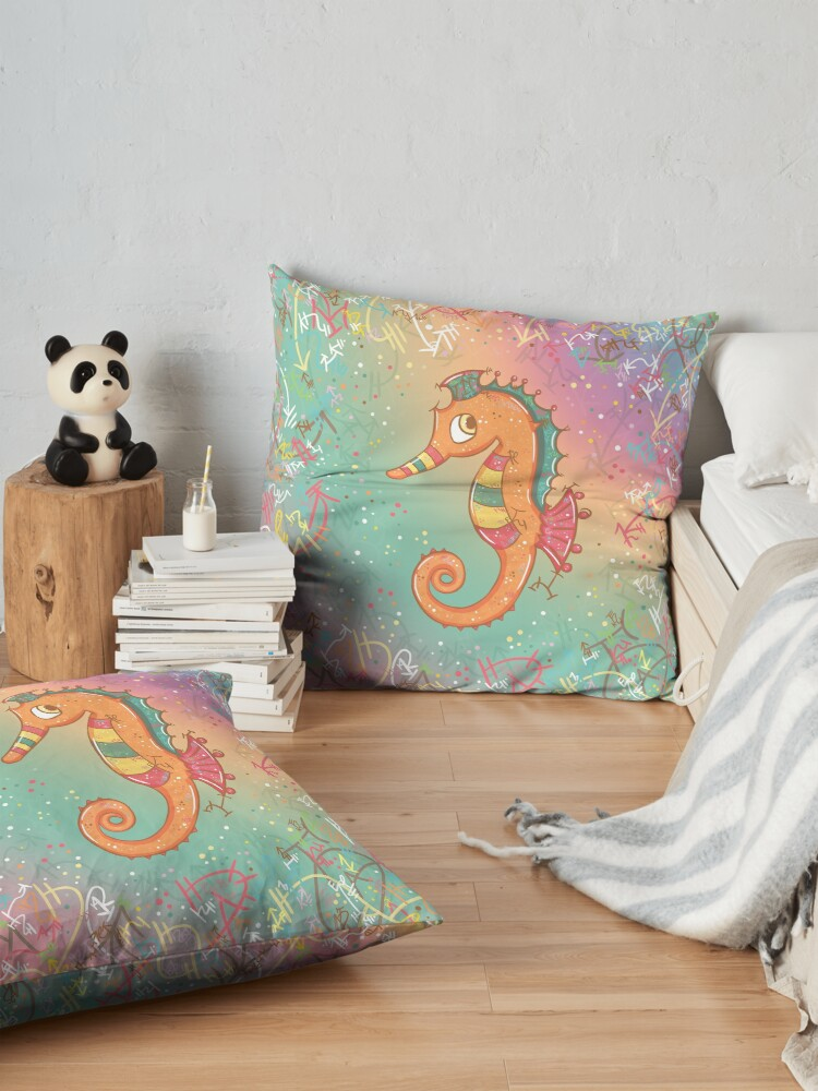 Alternate view of Sparkly Little Seahorse Floor Pillow