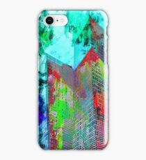 modern building at Las Vegas, USA with colorful painting abstract background iPhone Case/Skin