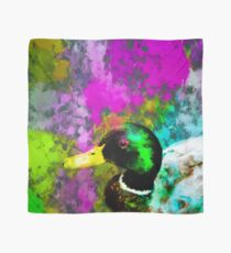 mallard duck with pink blue green yellow painting abstract background Scarf