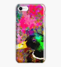 mallard duck with pink green brown purple yellow painting abstract background iPhone Case/Skin