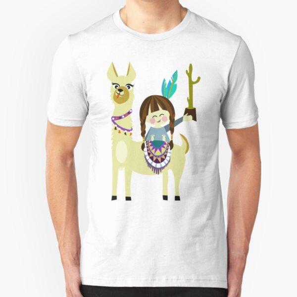 verrücktes alpaka Mädchen mit Kaktus  Slim Fit T-Shirt