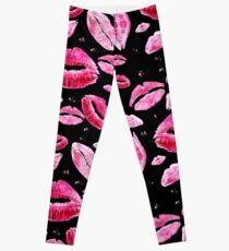 Kisses All Over (Black) Leggings