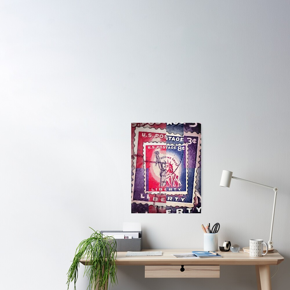 Abstract Liberty Stamp Collage Poster