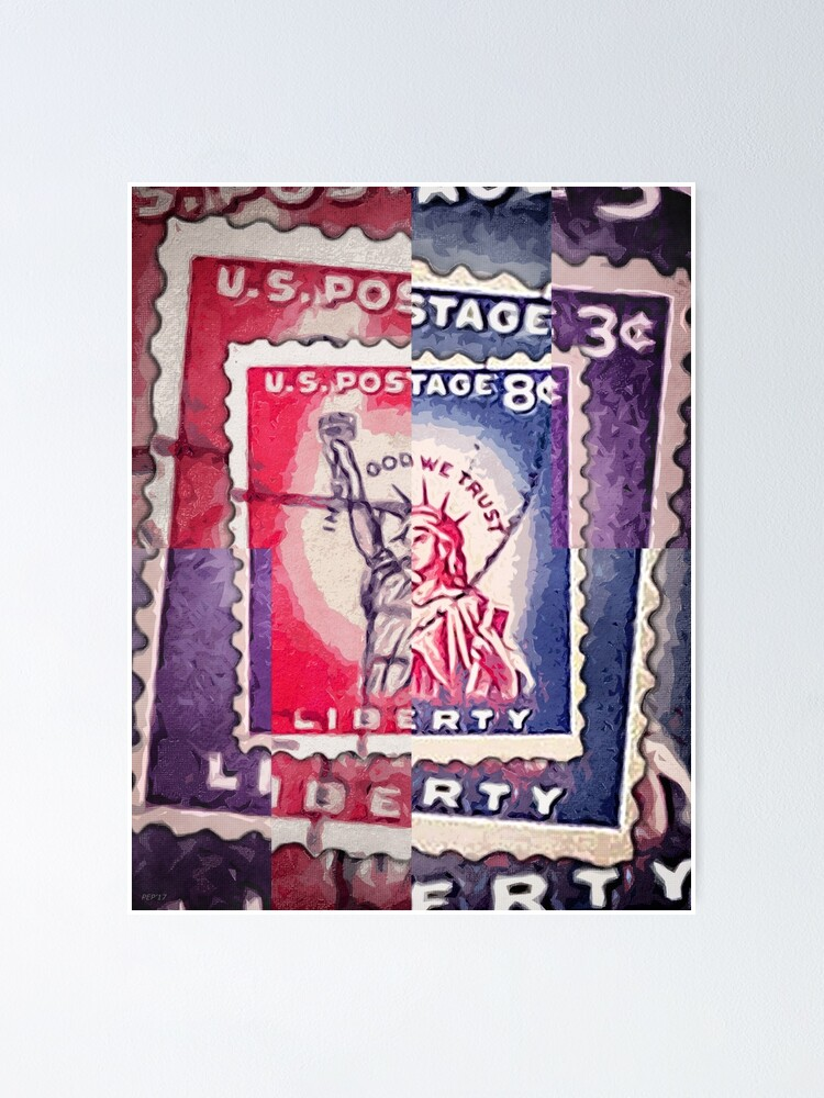 Alternate view of Abstract Liberty Stamp Collage Poster