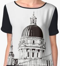 The Liverpool skyline in Black and White Women's Chiffon Top
