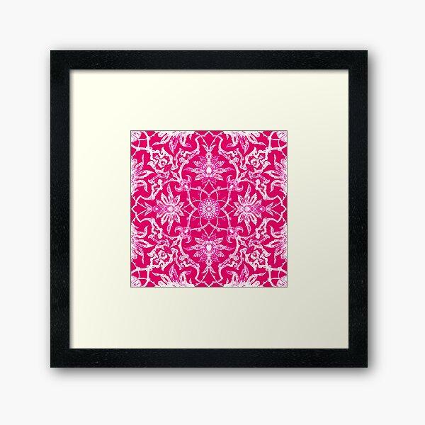 Art Nouveau Chinese Tile, Fuschia Pink Framed Art Print