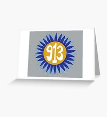 Hand Drawn Kansas Sunflower 913 Area Code Royals Greeting Card