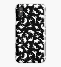 Fun Dinosaur Pattern (White on Black) iPhone Case/Skin