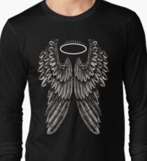 Angel Wings and Halo | Black and White Long Sleeve T-Shirt