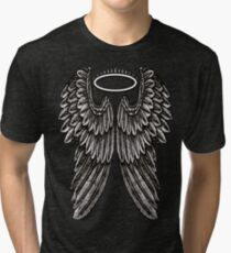 Angel Wings and Halo | Black and White Tri-blend T-Shirt