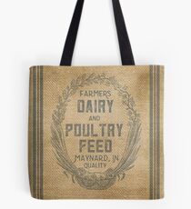 Vintage Burlap Style Dairy Poultry Feed Sack Design Tote Bag