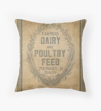 Vintage Burlap Style Dairy Poultry Feed Sack Design Throw Pillow
