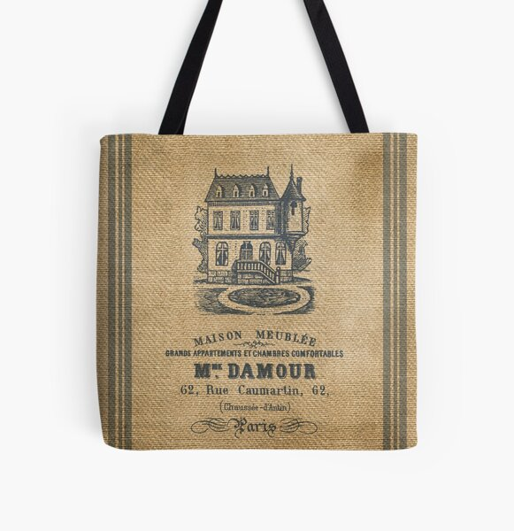 Vintage Burlap French House Design All Over Print Tote Bag