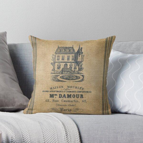 Vintage Burlap French House Design Throw Pillow