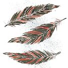 Watercolor Graphic Kestrel Feathers by scratchmade