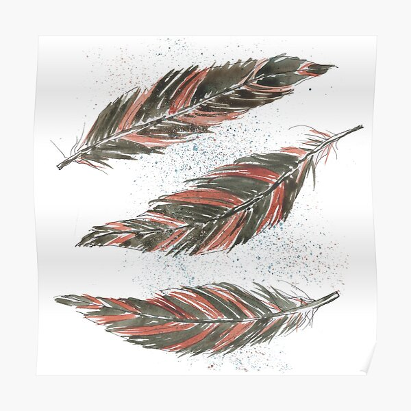 Watercolor Graphic Kestrel Feathers Poster