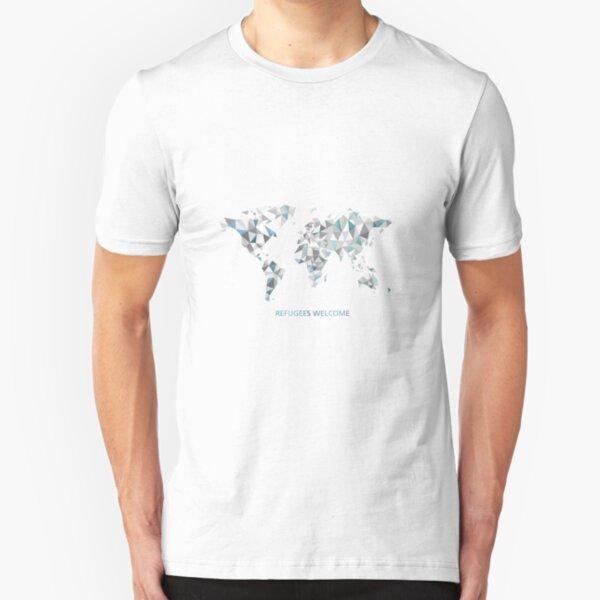 refugees welcome / Flüchtlinge wilkommen / Welt Slim Fit T-Shirt