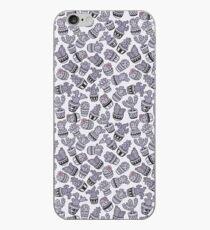 Modern purple black lavender cactus floral pattern iPhone Case