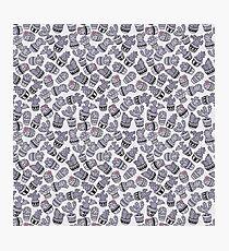 Modern purple black lavender cactus floral pattern Photographic Print