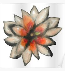 Painted White Flower Poster