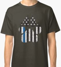 Paw Print Thin Blue Line Flag Aged Classic T-Shirt