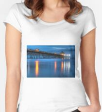 Folly Beach Pier At Blue Hour Charleston South Carolina Women's Fitted Scoop T-Shirt