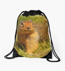 A Hopeful Columbian Ground Squirrel Drawstring Bag