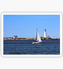 Sailing Past Old Boston Lighthouse Sticker