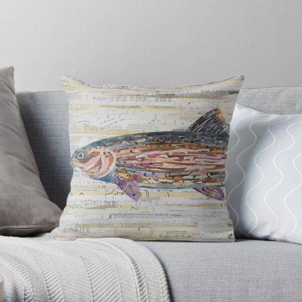 Rainbow Trout Collage by C.E. White Throw Pillow