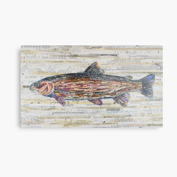 Rainbow Trout Collage by C.E. White Metal Print
