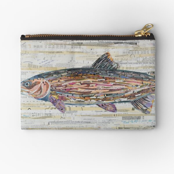 Rainbow Trout Collage by C.E. White Zipper Pouch