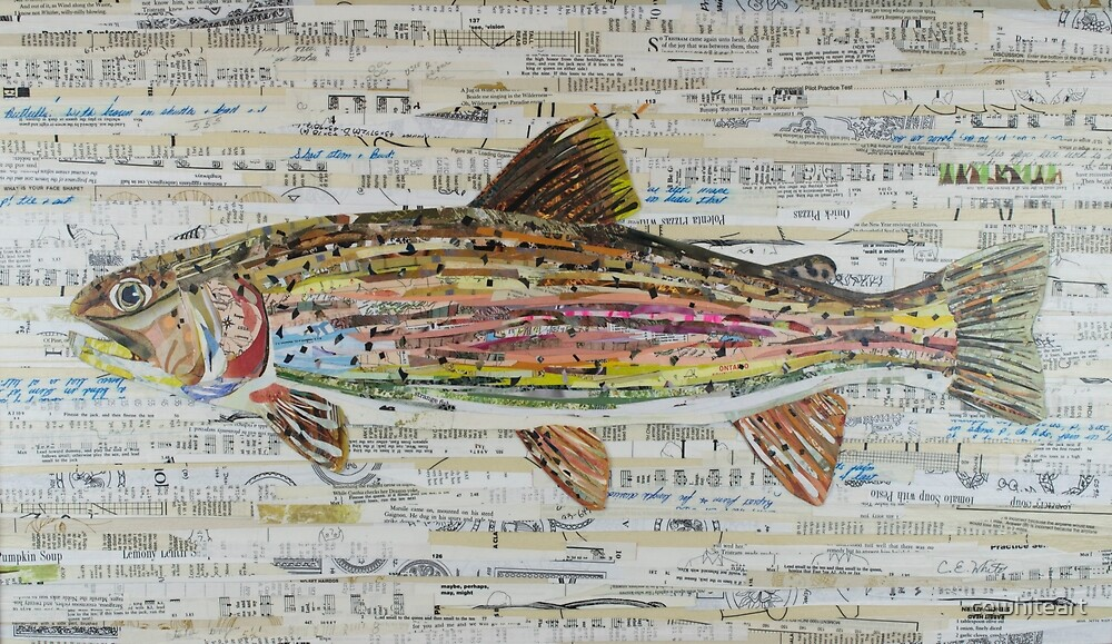 Rainbow Trout Collage by C.E. White - Fly Fishing (v2) by cewhiteart