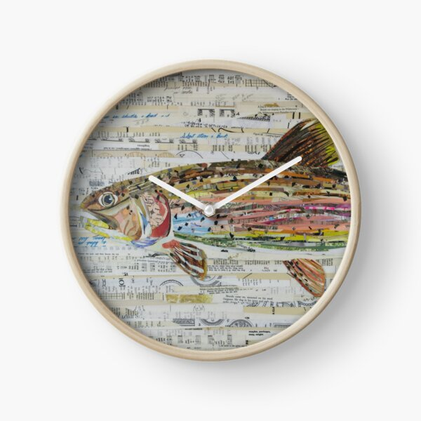 Rainbow Trout Collage by C.E. White - Fly Fishing (v2) Clock