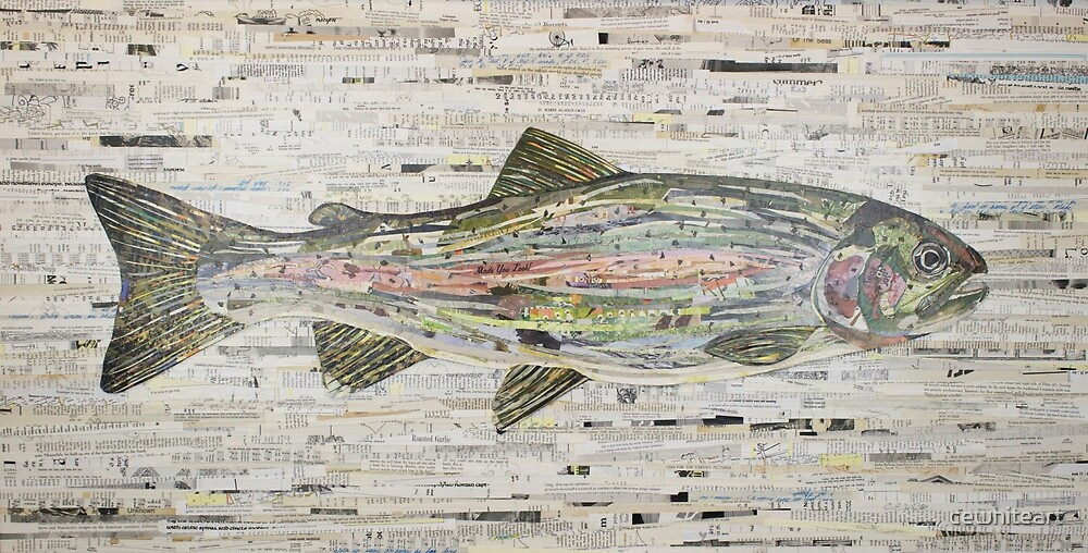 Rainbow Trout Collage by C.E. White (v3) Fly Fishing by cewhiteart