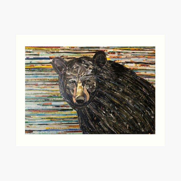 Black Bear Collage Art Unique Art Print