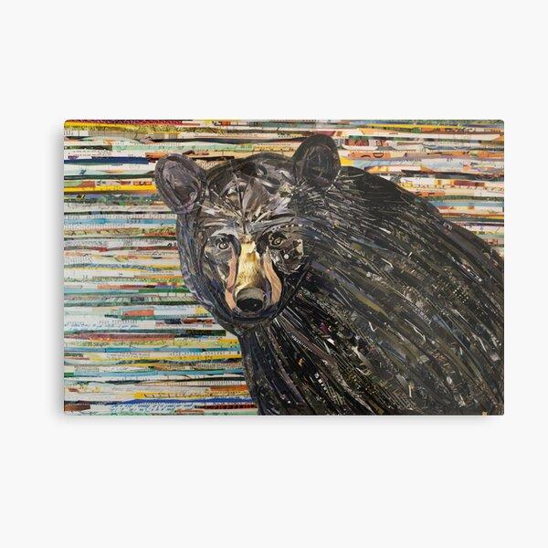 Black Bear Collage Art Unique Metal Print
