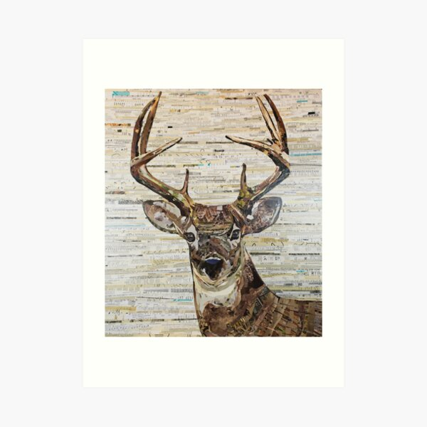 Whitetail Deer /Buck Collage by C.E. White Art Print