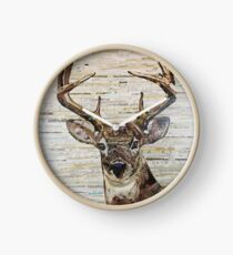 Whitetail Deer Buck Collage By CE White Clock