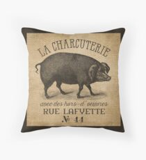 Burlap French Pig Advertisement Throw Pillow