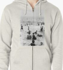Long Beach California Vintage Photo, 1920s  Zipped Hoodie