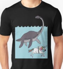 unicorn swimming with loch ness monster T-Shirt