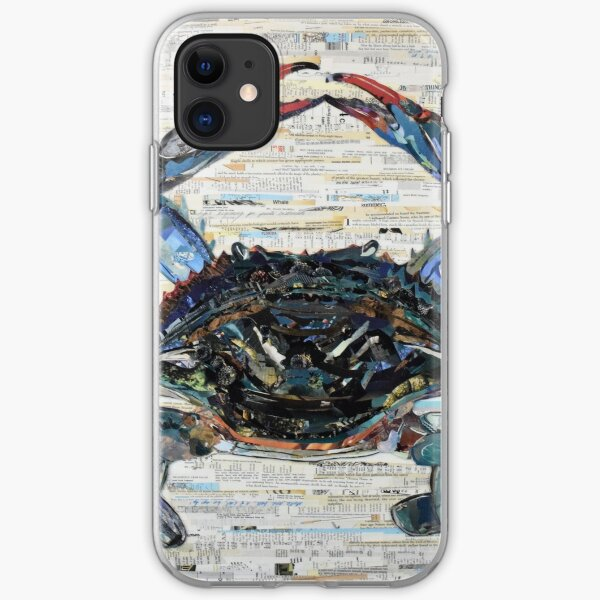 Blue Crab Collage Art iPhone Soft Case