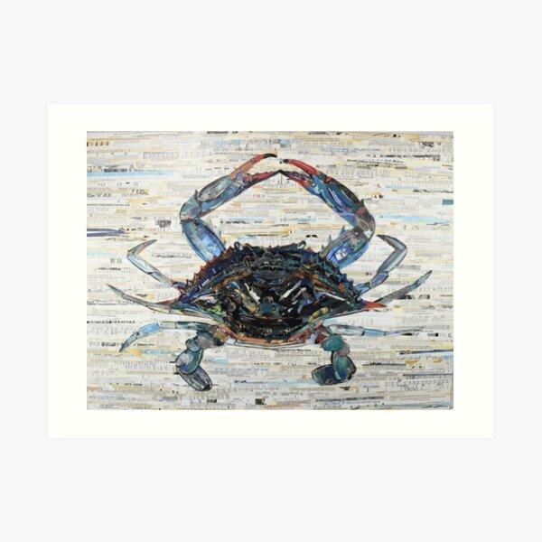 Blue Crab Collage Art Art Print