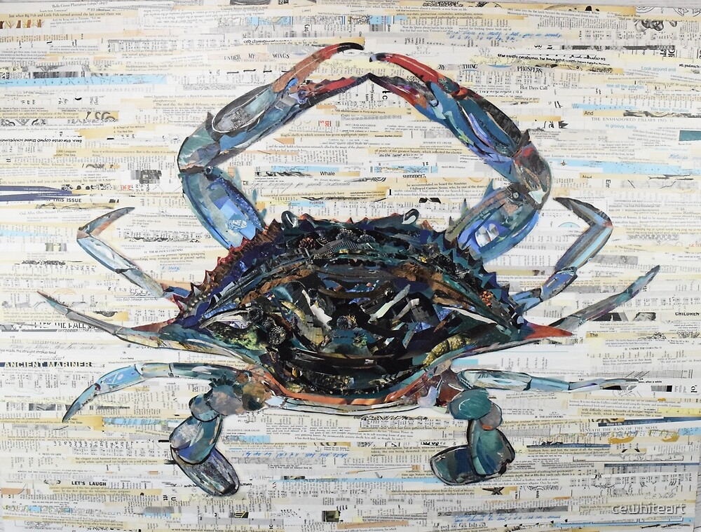 Blue Crab Collage Art by cewhiteart