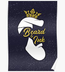 Beard and ink sign logo Poster