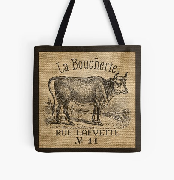 Cow French Advertisement Burlap All Over Print Tote Bag
