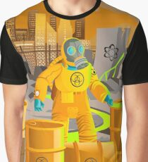 biohazard suit man with barrels near nuclear meltdown in powerplant Graphic T-Shirt
