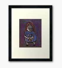 A spooky child with a spooky doll Framed Print