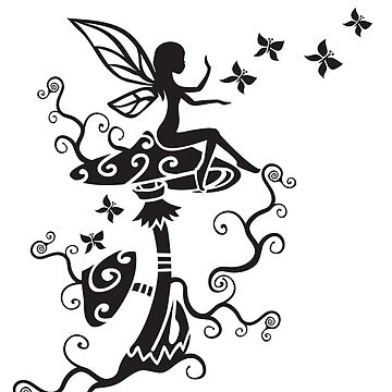 Hadas, hongos mágicos, mariposas, fantasía de boom-art